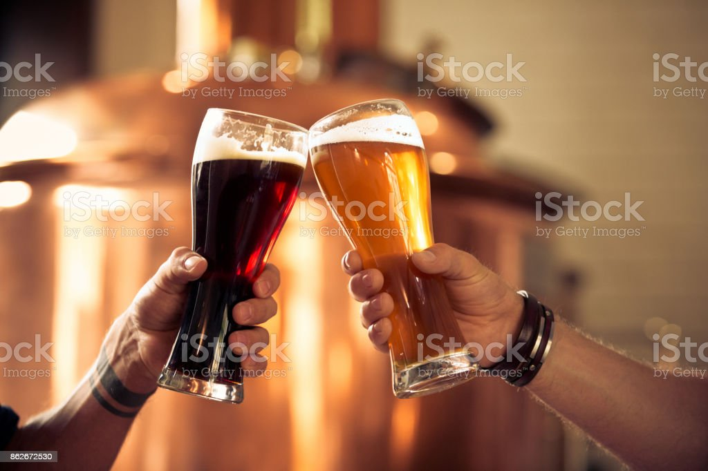 Friends toasting with beer glasses in the microbrewery stock photo