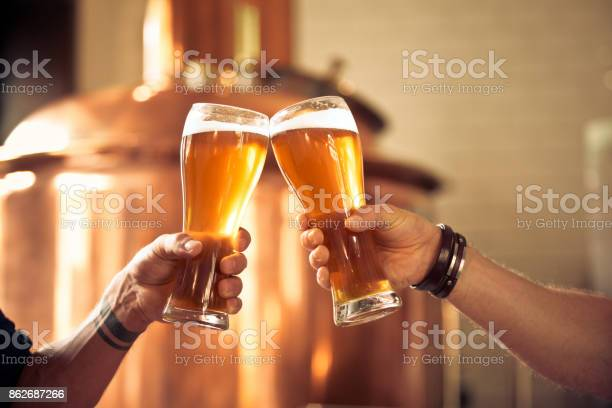 Friends Toasting With Beer Glasses In The Microbrewery Stock Photo - Download Image Now