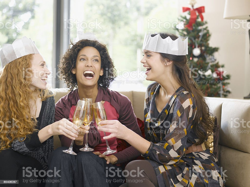 Friends toasting with Champagne at party royalty-free stock photo