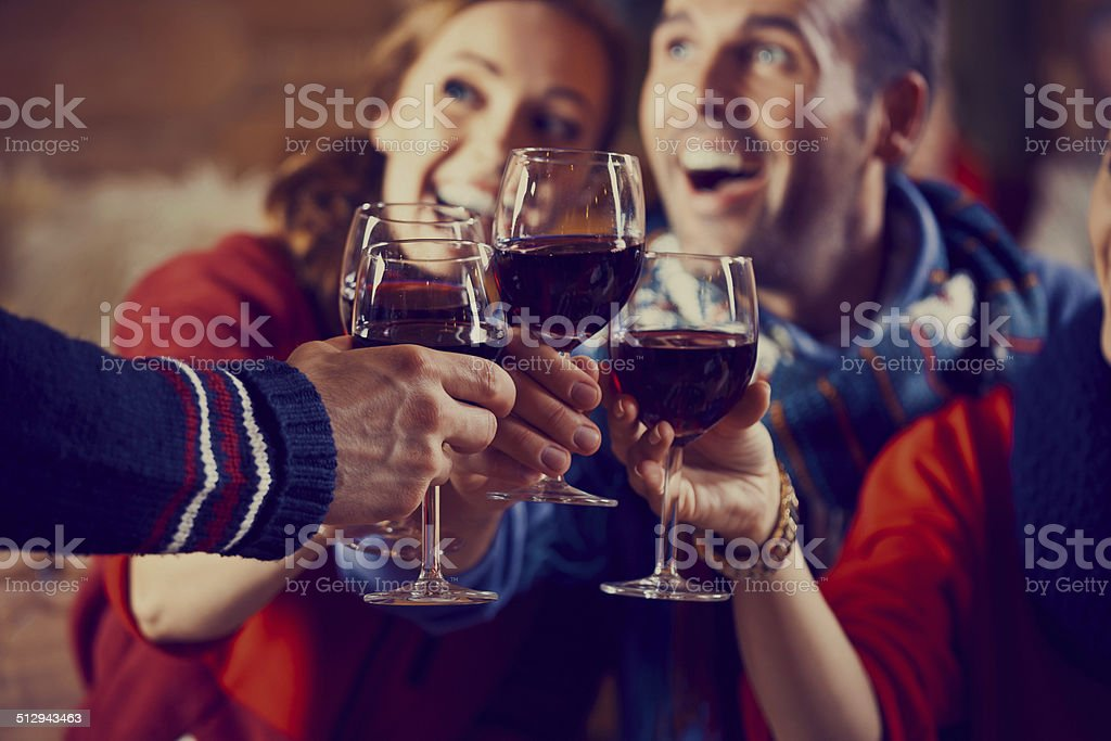 Friends toasting with wine Group of friends wearing warm clothes toasting with red wine. Focus on wine glasses. Adult Stock Photo