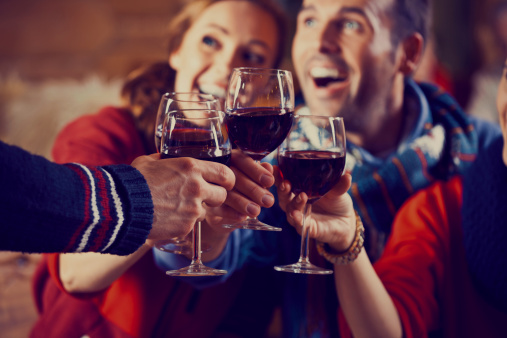 Friends Toasting With Wine Stock Photo - Download Image Now