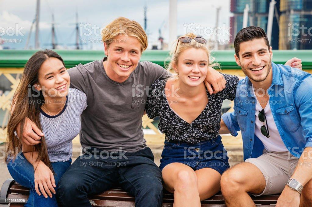 Friends Together at Pyrmont Bridge Darling Harbour Sydney stock photo