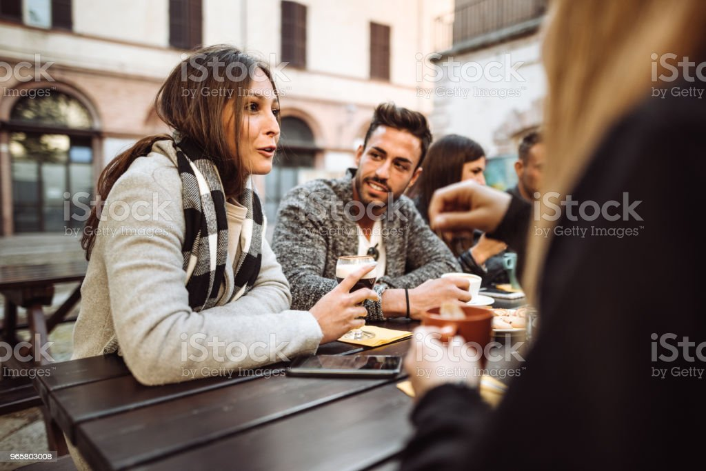 friends togetherness at the cafe take a break - Royalty-free Adult Stock Photo