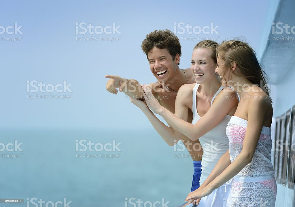 Friends traveling by Boat royalty-free stock photo