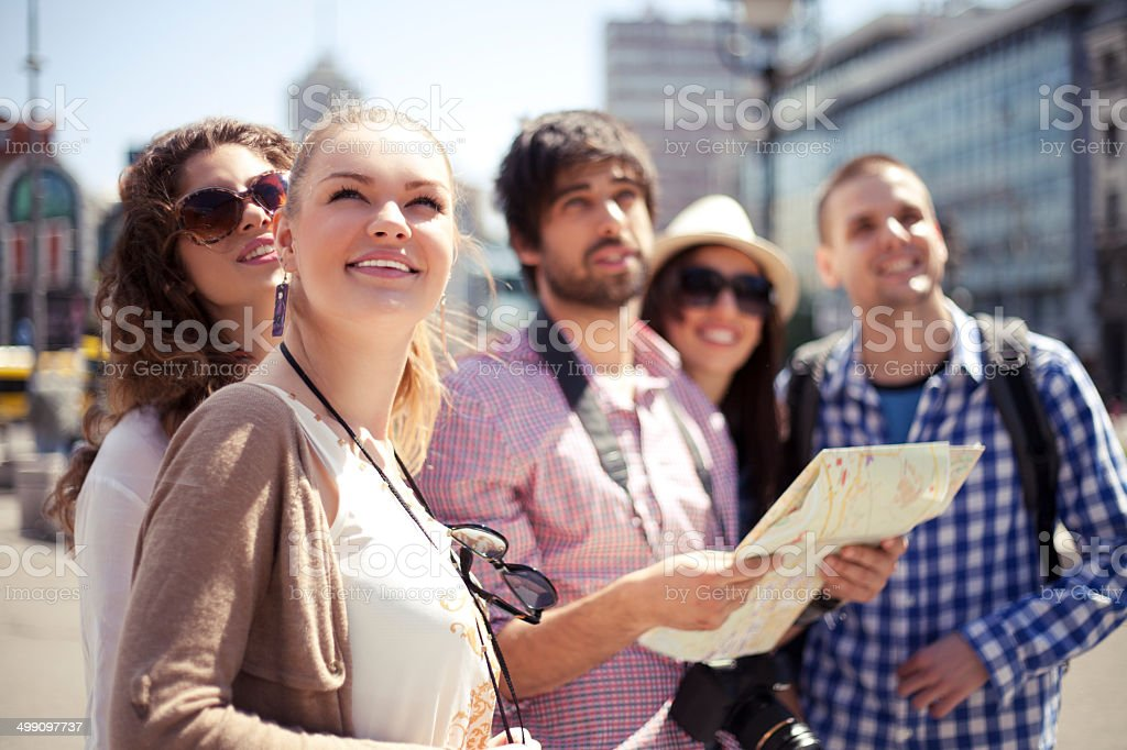 Friends traveling stock photo
