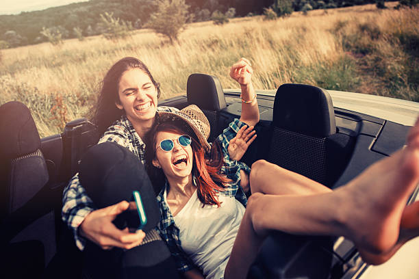 Friends travelling stock photo