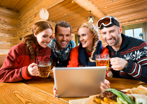 Friends Using Digital Tablet Stock Photo - Download Image Now