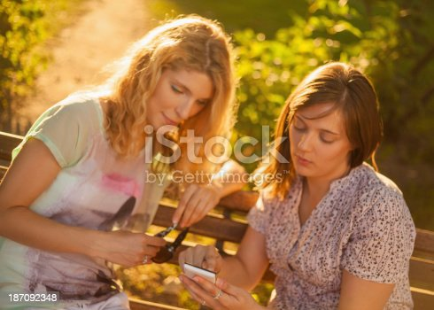 istock Friends using smart phone in park 187092348