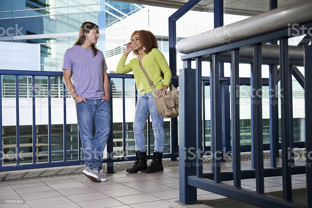 Friends waiting for tram royalty-free stock photo