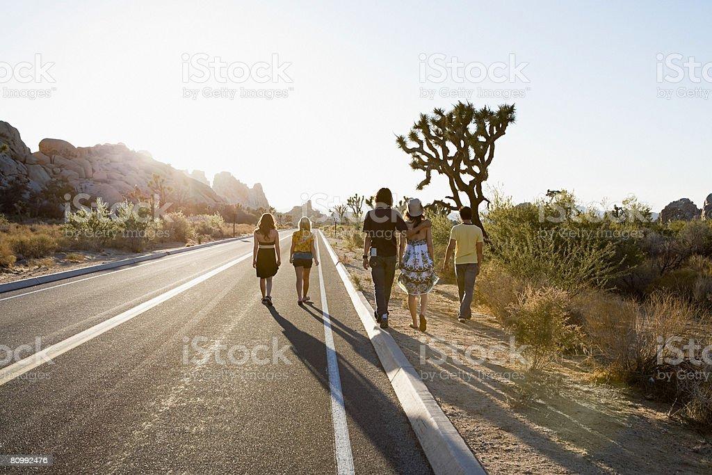 Friends walking along road royalty-free stock photo