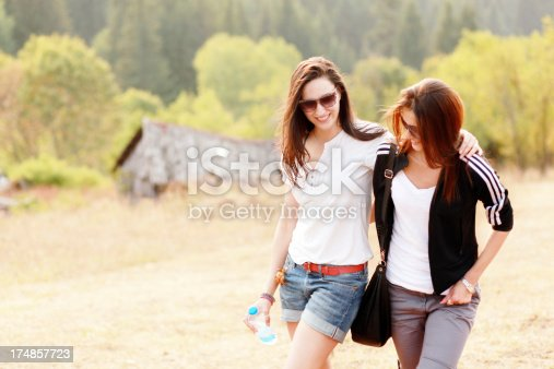 1092709104 istock photo Friends walking in the nature 174857723