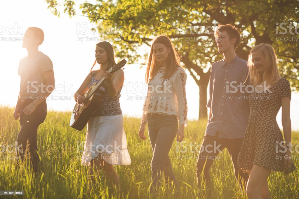 Friends walking on grassy field against clear sky during sunny day stock photo