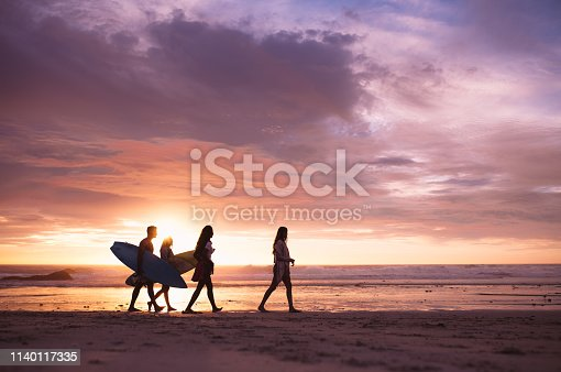 Silhouette of a group of friends walking on beach at dusk. Friends on vacation walking on beach at sunset carrying surfboards.