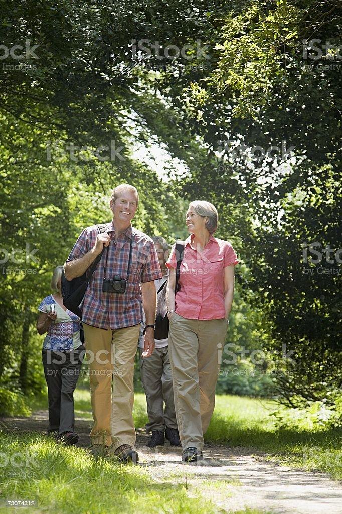 Amigos, andar pela floresta foto de stock royalty-free