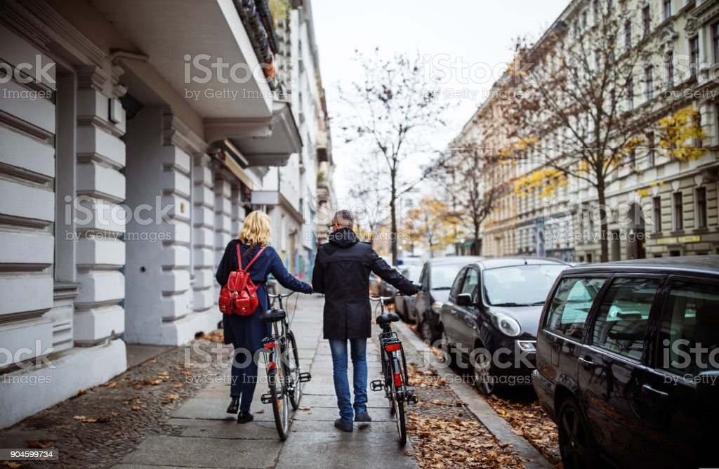 Friends walking with bicycle on sidewalk in winter royalty-free stock photo