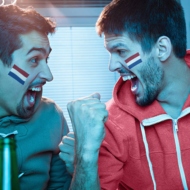 Amigos mientras mira deportes en el televisor - foto de stock