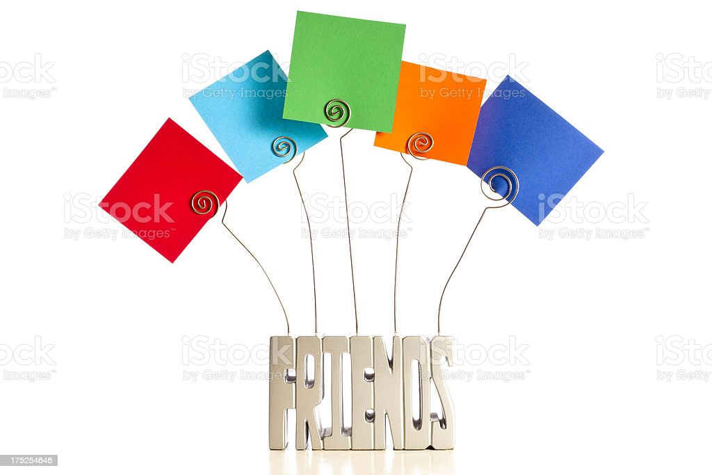 'Friends' wire holder, colorful squares for copy on white. royalty-free stock photo