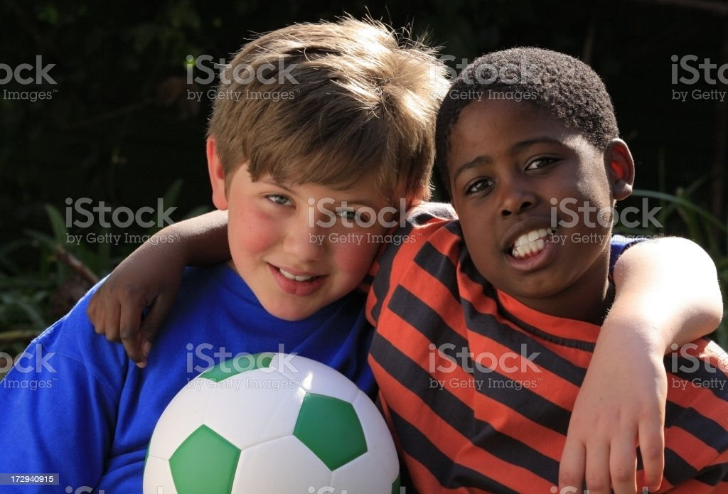 Friends with a football royalty-free stock photo