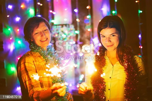 istock Friends with bengal lights 1190457018