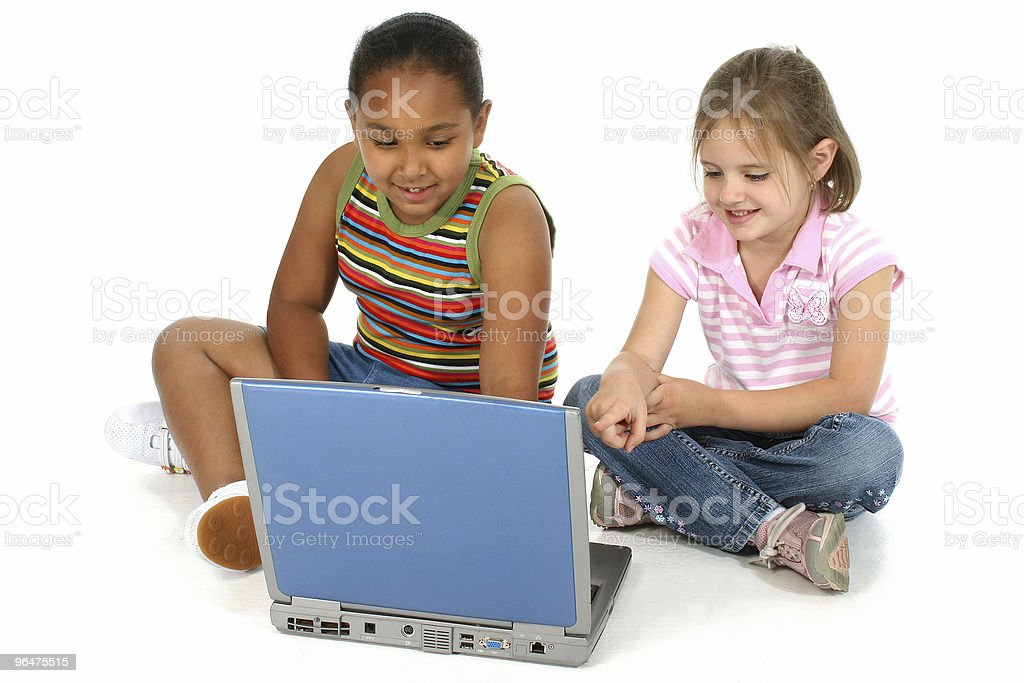Friends with Computer royalty-free stock photo