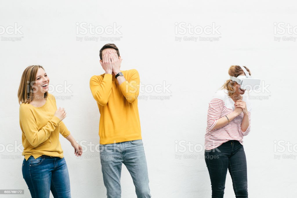Friends with Virtual Reality stock photo