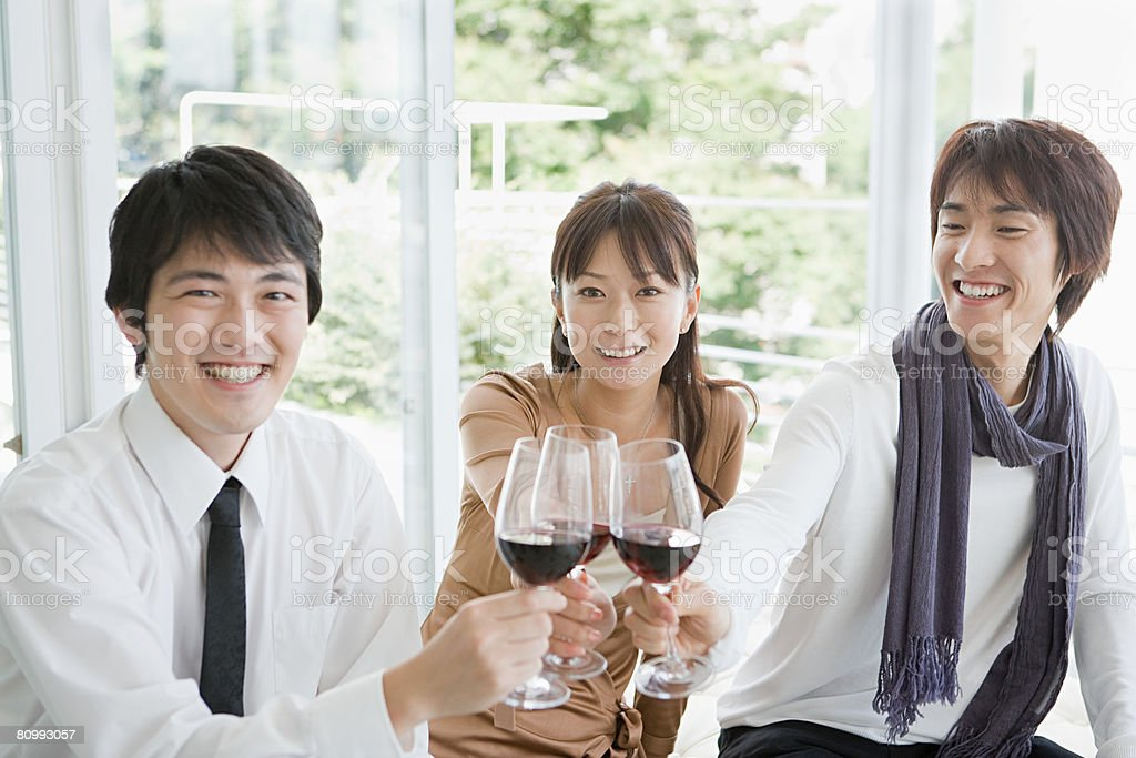 Friends with wine 免版稅 stock photo