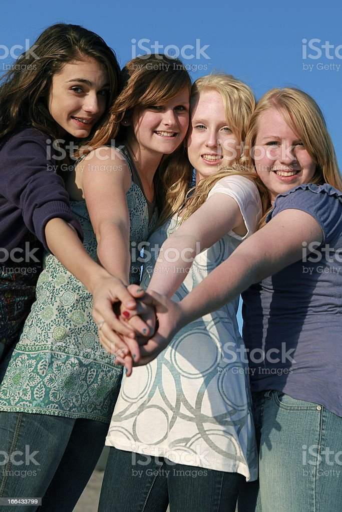Friendship Between Beautiful Teen Girls stock photo