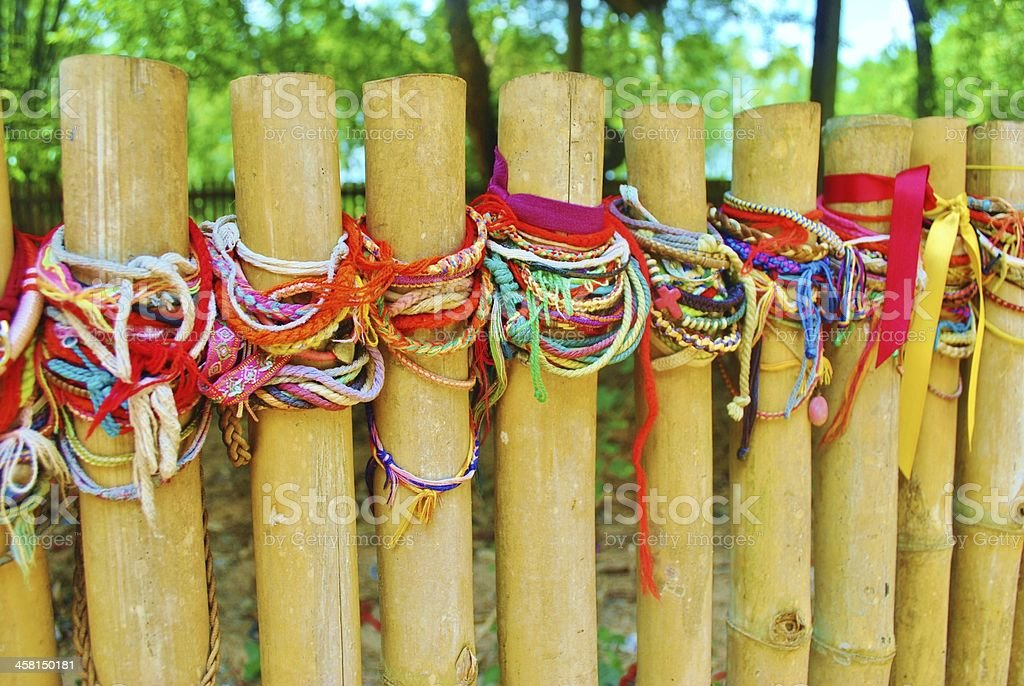 Friendship Bracelets At The Killing Fields, Cambodia stock photo