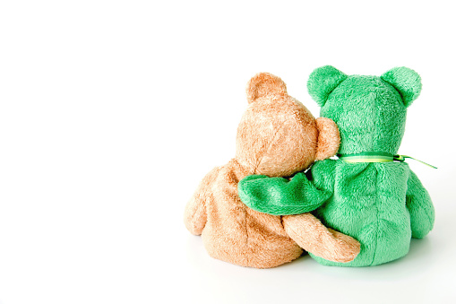 Friendship -Cute teddy bear with friends are holding in one's arms