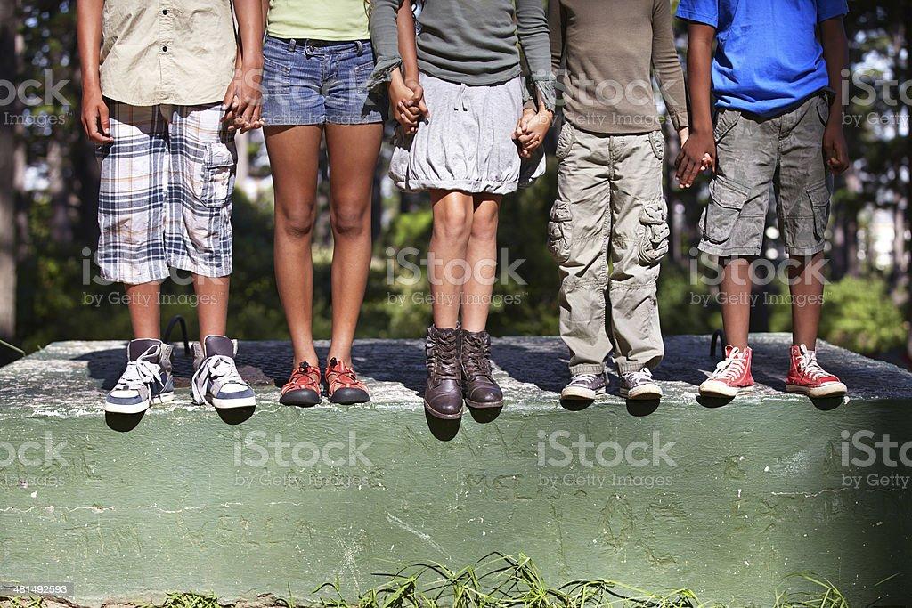 Friendship, diversity and nature stock photo