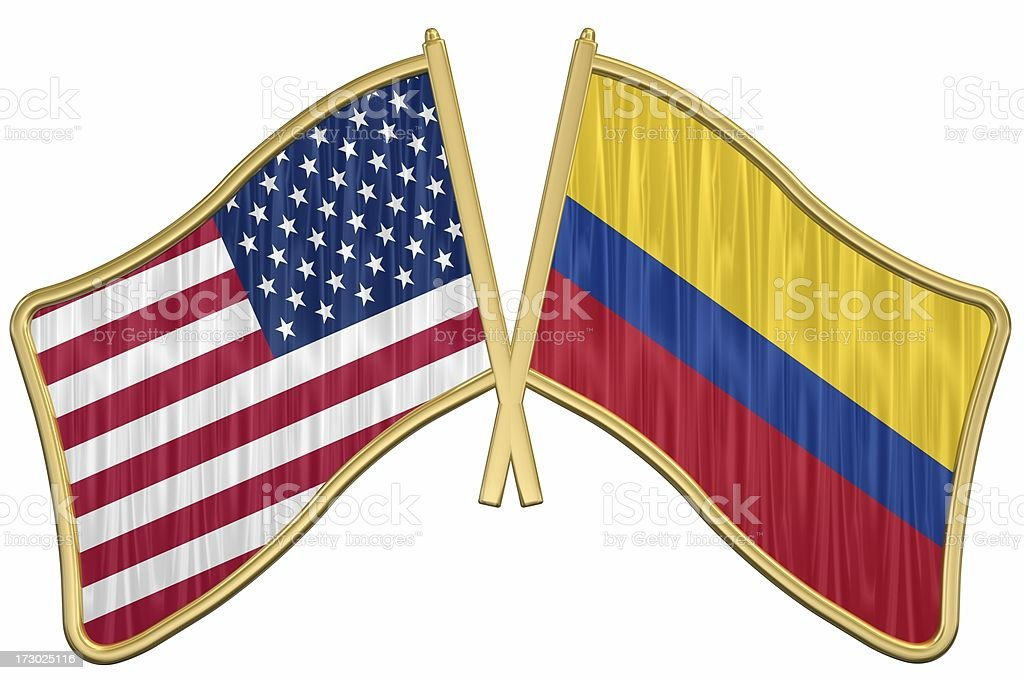 US Friendship Flag Pin - Colombia royalty-free stock photo