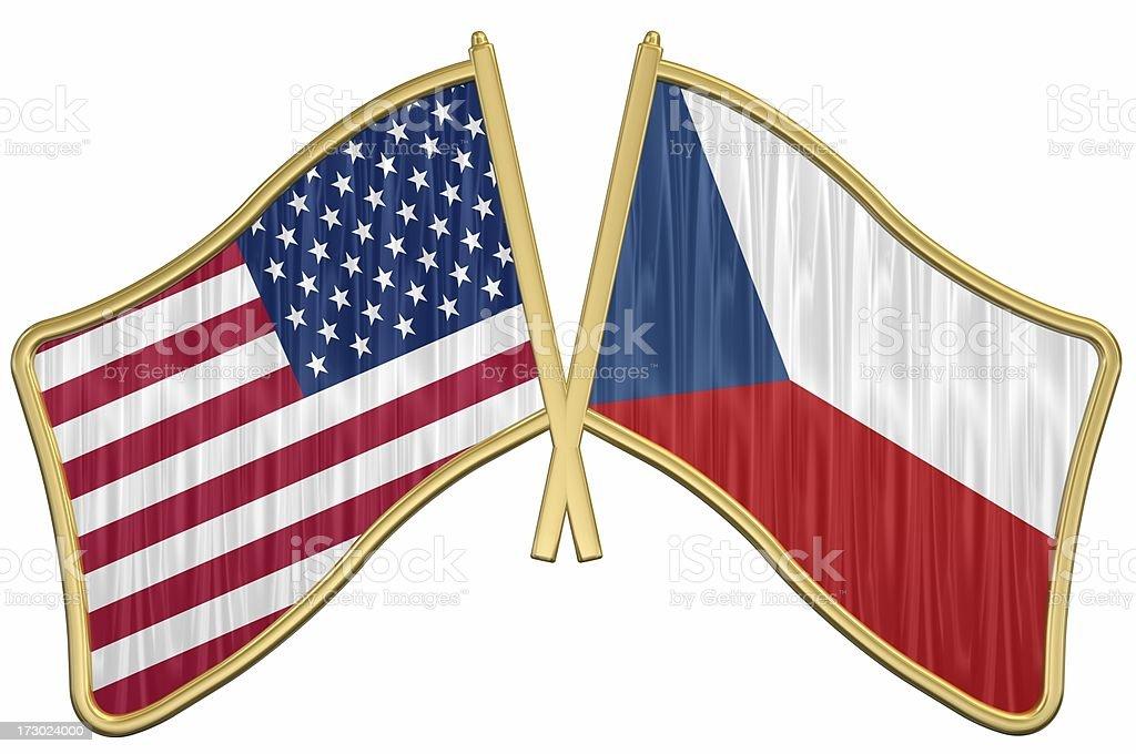 US Friendship Flag Pin - Czech Republic royalty-free stock photo