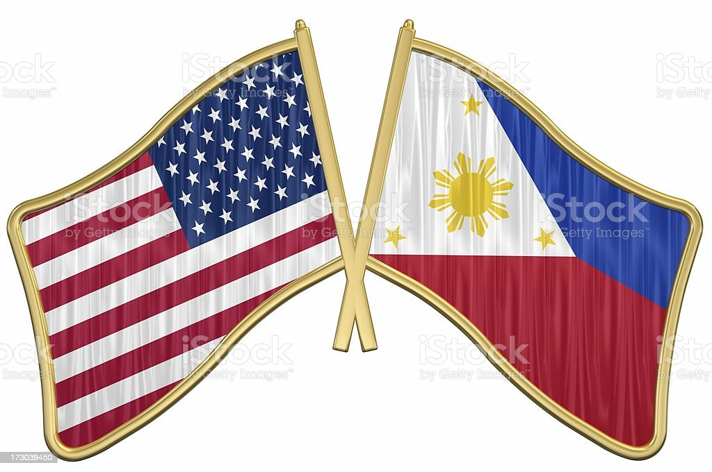 US Friendship Flag Pin - Phillipines royalty-free stock photo