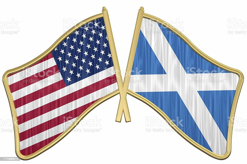 3d ray traced rendering of a golden US Friendship Flag Pin - Scotland