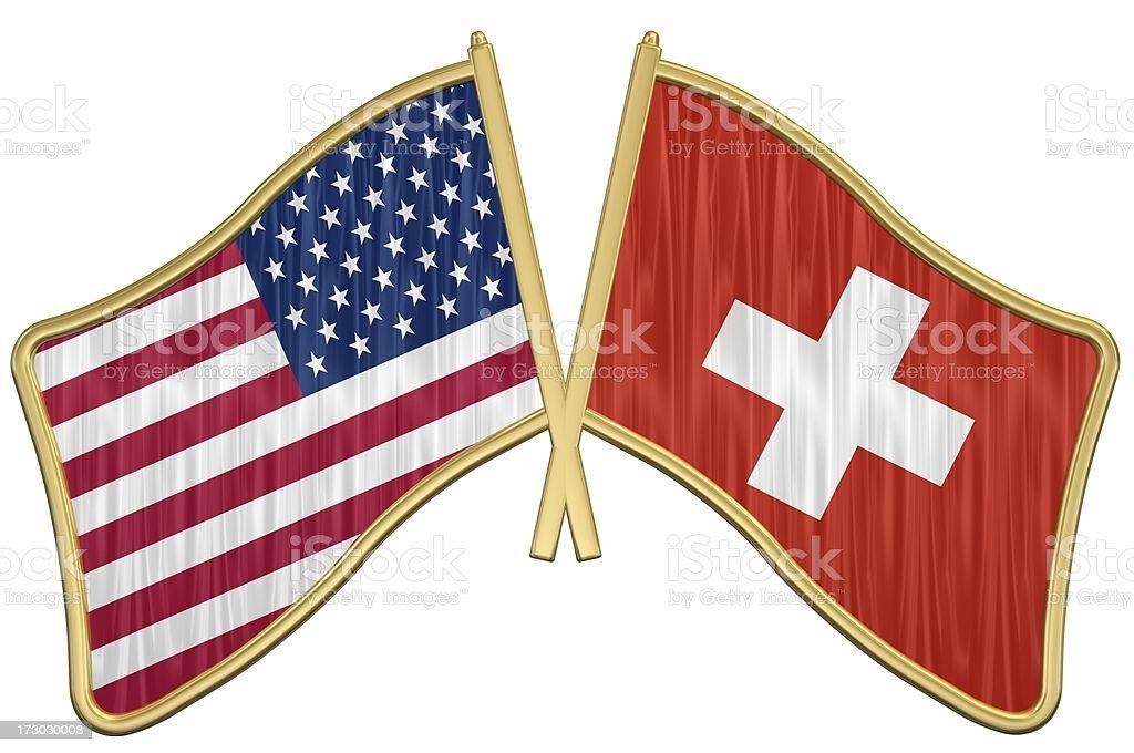 US Friendship Flag Pin - Switzerland royalty-free stock photo