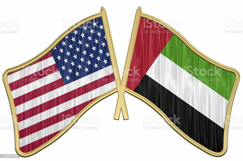 US Friendship Flag Pin - UAE royalty-free stock photo