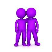 friendship friends couple team purple side by side shoulder on shoulder 3d stick figure men people colleague coworker help assistance