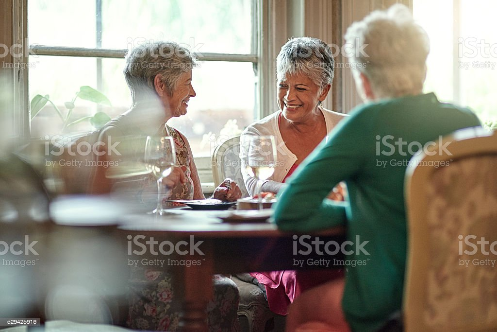 Friendship in the golden years stock photo