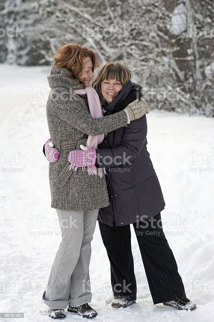 Friendship in winter royalty-free stock photo