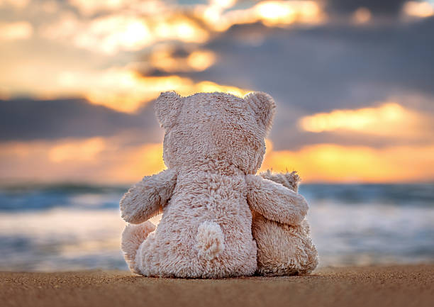 Friendship - two teddy bears holding in one's arms. stock photo