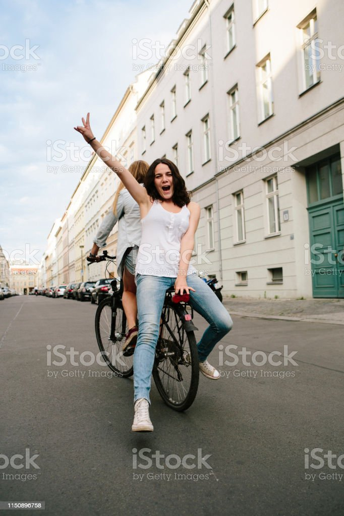 bicycle, Friendship, young women, outdoors, urban, summer, victory...