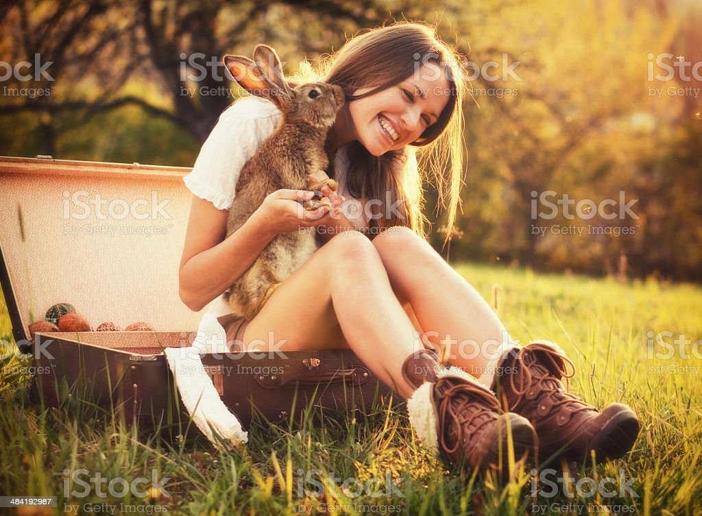 Friendship with an Easter Bunny stock photo