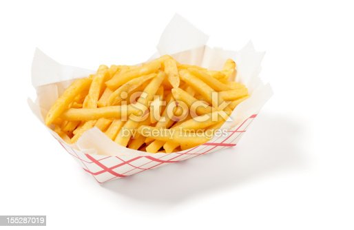 Fries isolated on a white background, larger files include clipping path.  Exported at 16 bit, color corrected and retouched for maximum image quality.