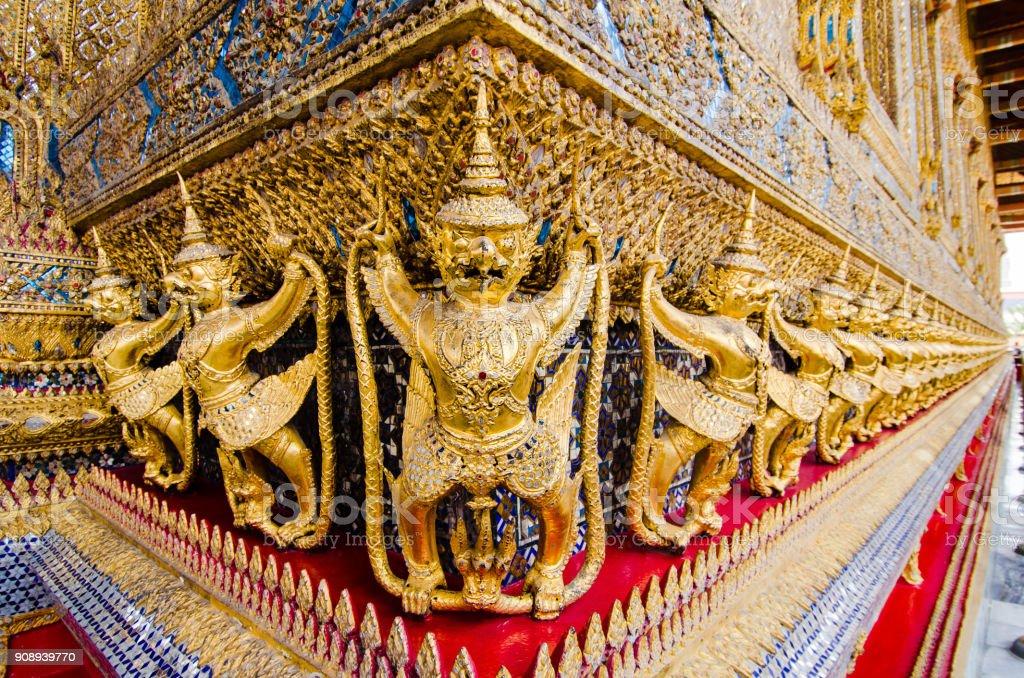 Frieze of Garudas on Wat Phra Kaew stock photo