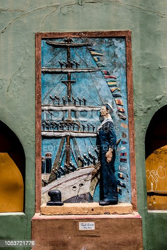 Buenos Aires, Argentina - February 06, 2017: Artwork by frigate Sarmiento de Ibarra Garcia, Argentine artist, on the streets of Caminito, a traditional tango neighborhood in La Boca, in the Argentine capital, Buenos Aires.
