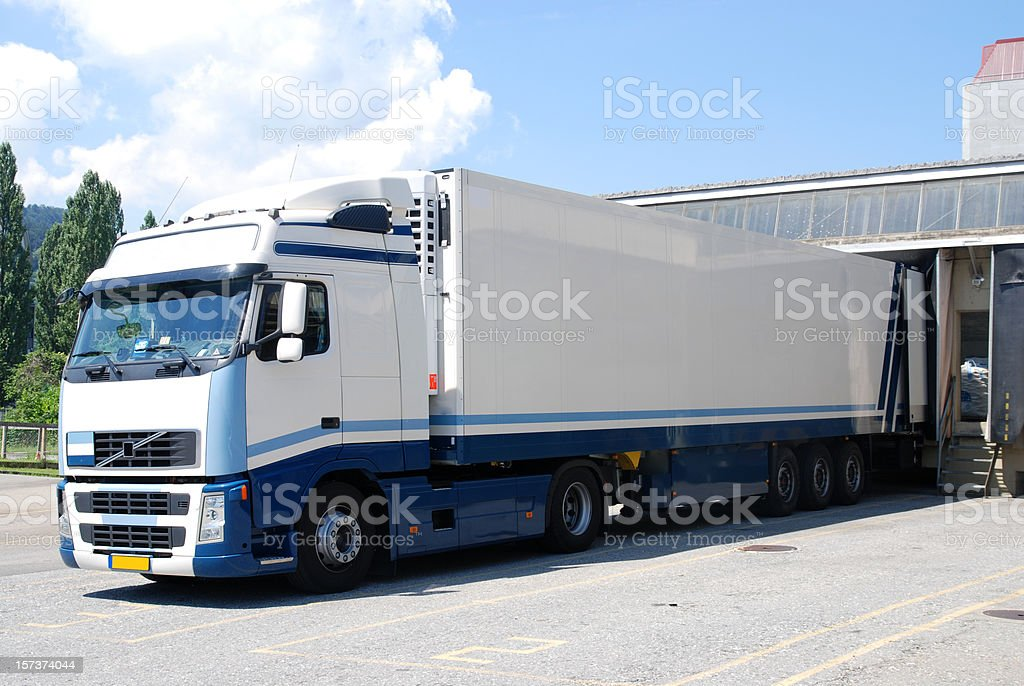 fright truck at loading dock stock photo