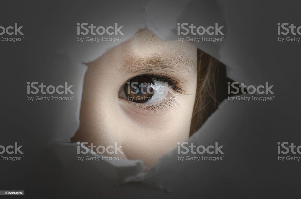 frightened child stock photo