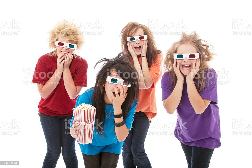 Frightened Teens with 3D Glasses royalty-free stock photo