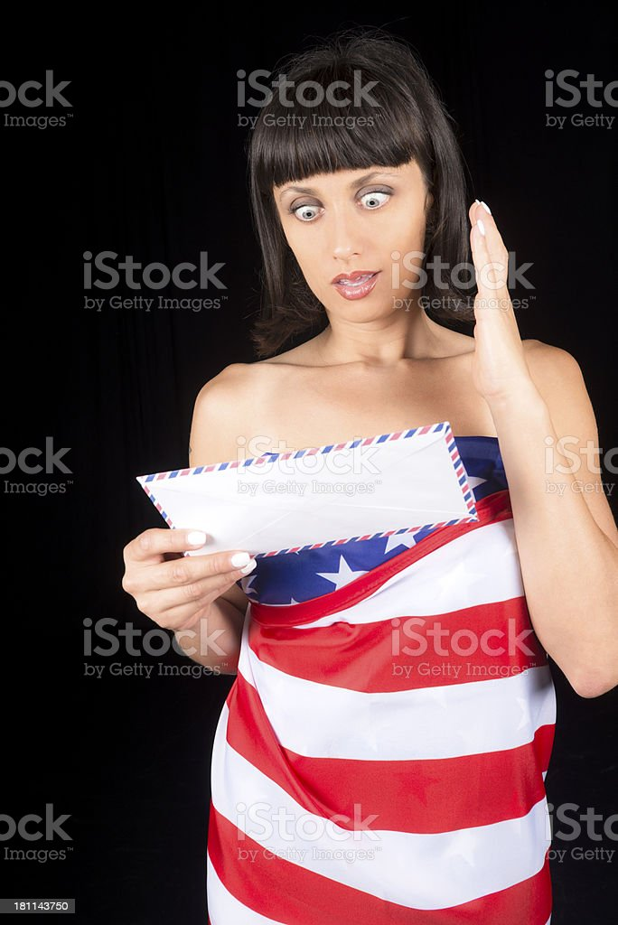 Frightened Woman with Letter and US Flag royalty-free stock photo