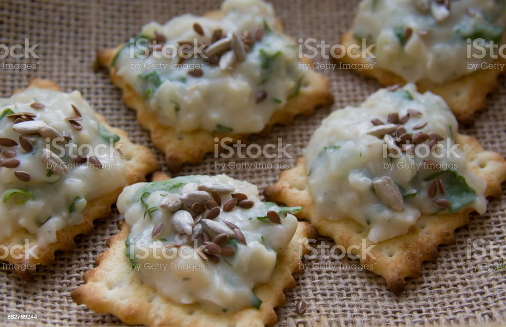 frigole dip with flax seeds stock photo